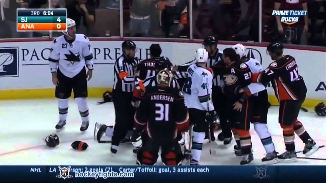 ducks vs sharks fight- 2014